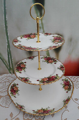 """Royal Albert """"Old Country Roses"""" Large 3-tier Cakestand"""