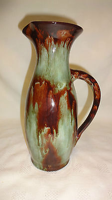 "Vintage Attractive Large 9.5"" Water Jug Welsh Ewenny Pottery - Brown/Grey Glaze"