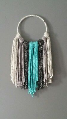 Handmade Aqua Gray Wall Decor Yarn Hanging Nursery Decor Boho