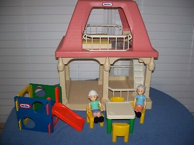 Vintage Grandma Grandpa Cottage Pink Roof Jungle Gym Table Chairs Little Tikes