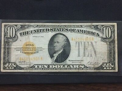 $10 Gold Certificate 1928 Currency Paper Money