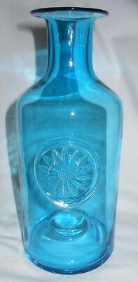 Dartington Art Glass, Large Turquoise Daisy Vase, Frank Thrower Design