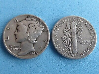 United States Silver Mercury Dime 10 Cents 1940 S Mint Only £2.99 Uk Post Paid