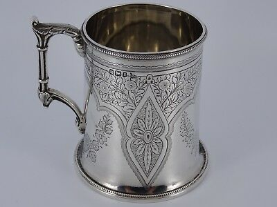 Victorian Solid Sterling Silver Engraved Christening Mug Cup Sheffield 1879 206G