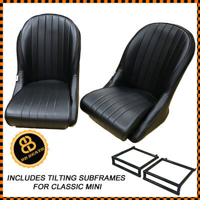 Pair BB Vintage Bucket Seats Low Rounded Back + Sub Frames Fits CLASSIC MINI