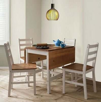 Dropleaf Dining Table and 4 Chairs Solid Wood Dining Set Kitchen Furniture White