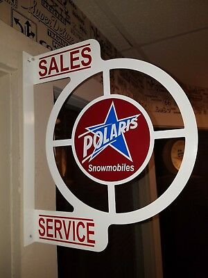 Vintage Polaris Snowmobile 1960S Era Dealership Service Counter  Flange Sign