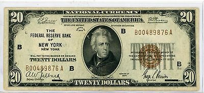 1929 $20 NY  New York Federal Reserve Bank Note #9876