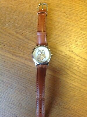 owl watch with leather / plastic strap good condition