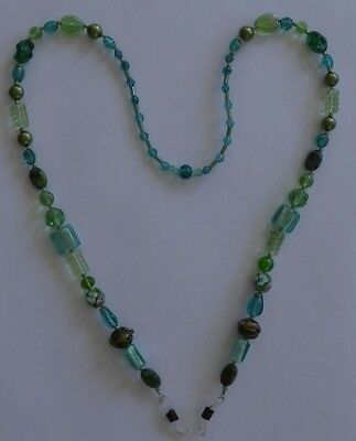 Eyeglass Chain Holder Shades of Green - NEW Beaded Hand Crafted OOAK