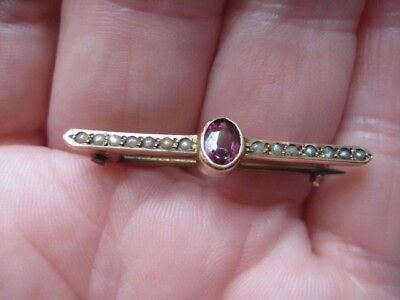9ct Gold Seed Pearl Ruby Brooch Miniature VINTAGE