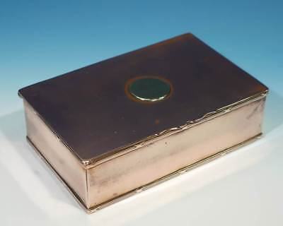 Antique Copper Cigarette Box with Coin Inset on Lid (once silver plated).
