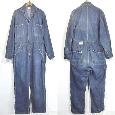 vtg 40S/50S FINCKS RED BAR DENIM WORK JEAN COVERALLS JUMPSUIT OVERALLS jacket 40