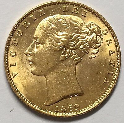 1869 Victoria (Young Head) Great Britain Gold Sovereign AU