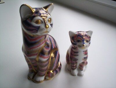 Two Crown Derby Cats  Second Quality