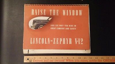 1940 LINCOLN Zephyr - Stand up Display- Dealer Brochure - Good plus condition.