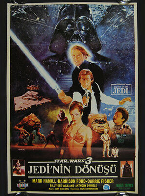STAR WARS RETURN OF THE JEDI - 80's - ORIGINAL TURKISH MOVIE POSTER - RARE