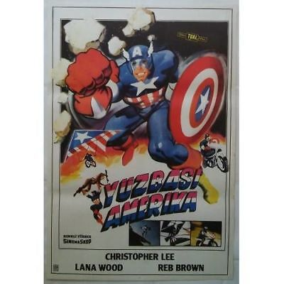 CAPTAIN AMERICA - 70's - ORIGINAL TURKISH MOVIE POSTER - MEGA RARE