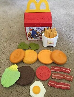 Lot Fisher Price Vintage McDonald's Play Food With Case, Fries, Burger, Etc.
