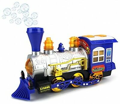 Blue Steam Train Locomotive Engine Car Bubble Blowing Bump and Go Battery Toy