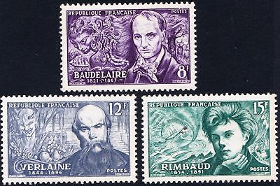 France 1951 Famous French Poets - MNH set of three  - (41)