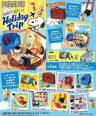 10/2017 Re-Ment Miniature Peanuts Snoopy Holiday Trip Go to America Set of 8 pcs