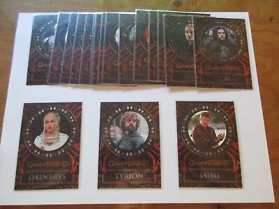 Game of Thrones Valyrian Steel Trading Cards 18 Card Laser/Diecut Cut Insert Set