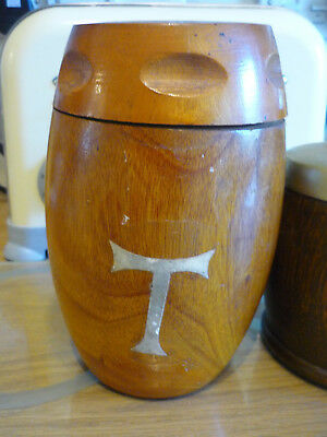 Mid Century Large Dense Turned Wood Tea Caddy & Another Oak Caddy