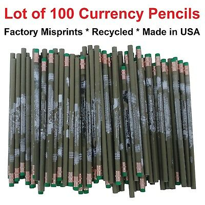 LOT of 100 Factory Misprint Recycled #2 Pencils Retired US Currency / Money
