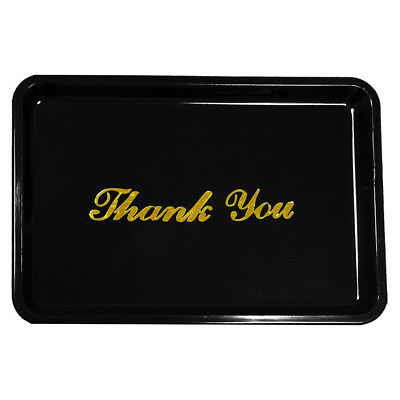 Thank You Tip Tray Gold Lettering Restaurant Guest Bill Check Holder Black Brown