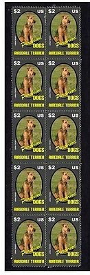 Airedale Terrier P/breed Dogs Strip Of 10 Mint Stamps 1