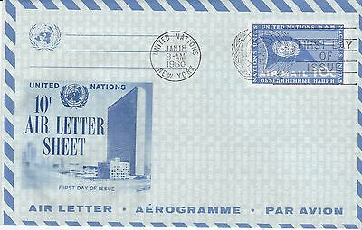 First day air letter, United Nations, Scott  #UC4, Fleetwood cachet, 1960