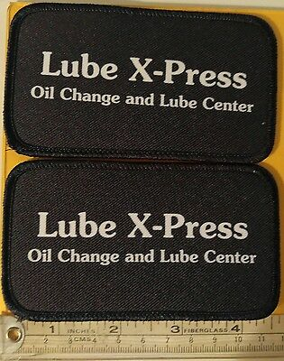 """Lube X-Press Embroidered Iron-On Logo Patches Lot of 2  4.5""""x 2.5"""""""