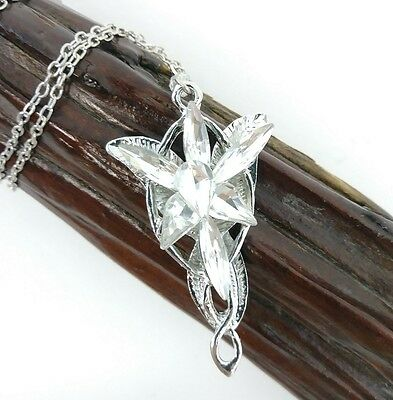 Lord of the Rings Elvish Arwen Evenstar Necklace Silver Tone Cosplay Costume 18