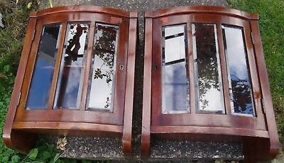 Bow Front Mahogany Cabinets. Locking Doors with Beveled Glass.(pair)