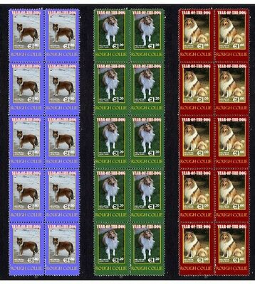 Rough Collie Year Of Dog Set Of 3 Mint Stamp Strips