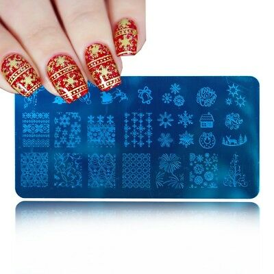 XY J28 PIASTRA NATALE CHRISTMAS  NAIL ART stamping PLATE manicure STENCIL