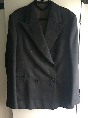 True Vintage 1940s / 1950s Double Breasted Three Piece Suit Dark Grey Check