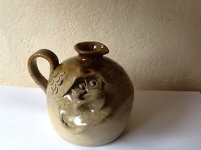 Pretty Ugly Pottery Welsh Stoneware Face Jug With Potters Initials