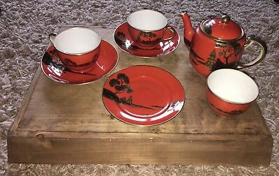 Japanese Noritake Tea Set Vintage Red Gold And Black Teapot Cups Saucers Plate