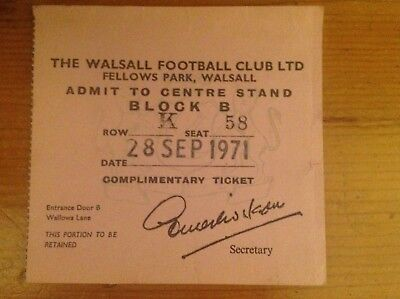 Match Ticket - Walsall V Chesterfield 1971/72