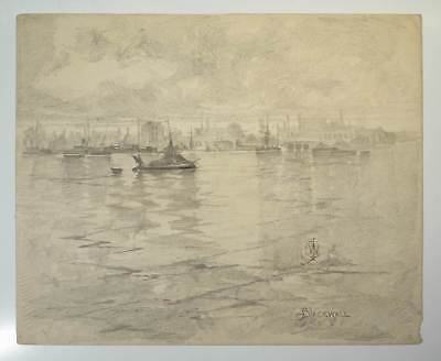 Original Antique Pencil Drawing by Artist Claude W Johnson - Blackwall London.