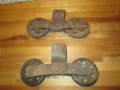 2 antique Vintage Cast Iron Stay ON barn door rollers Farm DBL WHEELS BARN DOORS