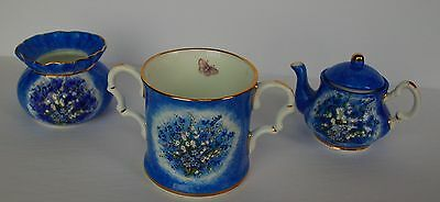 Harcourt China Hand-painted and Signed Cerulean Blue 3Pc. Porcelain Set