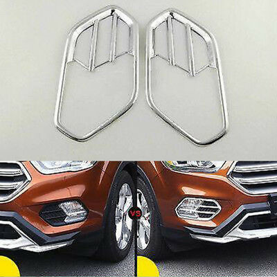2*ABS Chrome Front Fog Light Lamp Bezel Cover Trim Fit for Ford Kuga Escape 2017