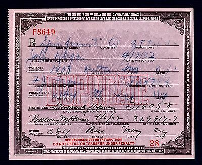 Prohibition Prescription Vintage Pharmacy Doctor Medical Alcohol Rx New York Bar