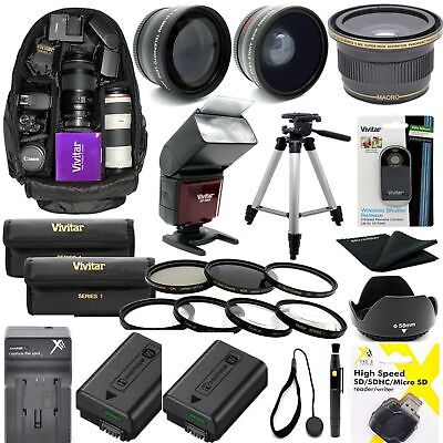 Sony Alpha A6500 Complete  Accessories Kit Lenses Tripod Backpack Flash Filters