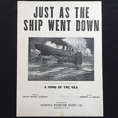 1912 TITANIC SHEET MUSIC w Front Page POSTER ILLUSTRATION White Star SHIPWRECK