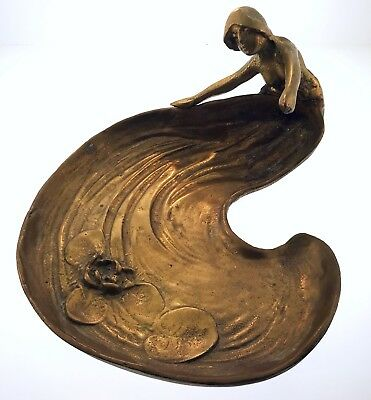 Figural Antique Brass Mermaid Art Nouveau Tray Or Ashtray w Lillipads