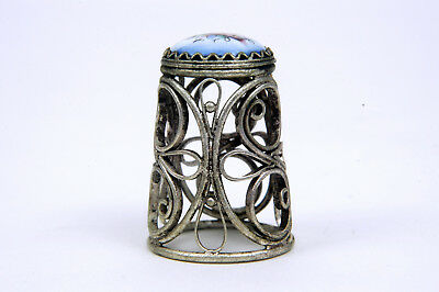 Russian Silver Wire with Enamel Inset Floral Thimble B/47